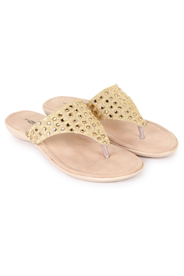 Beautiful Golden color synthetic material flats for women's
