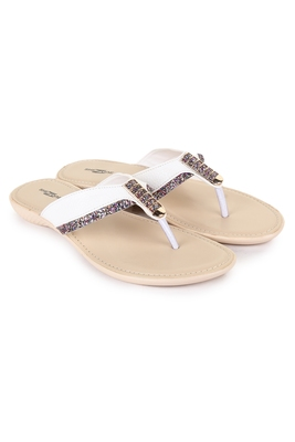 Beautiful White color synthetic material flats for women's