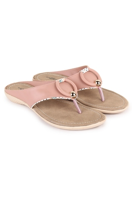 Beautiful Peach color synthetic material flats for women's