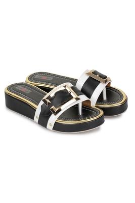 Shezone Beautiful black  toe separator   flat forms sandals