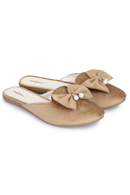 Shezone Beautiful Beige slip on mules flat sandals
