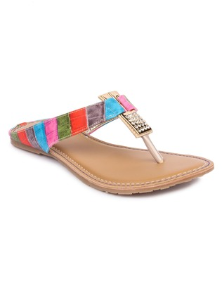 multicolor solid synthetic sandals