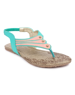 Green solid synthetic sandals
