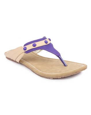 Purple solid synthetic sandals