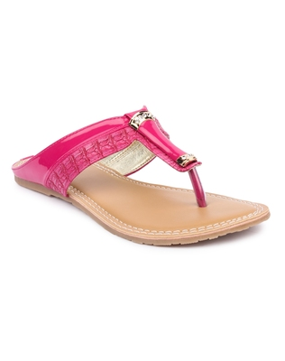 Pink solid synthetic sandals
