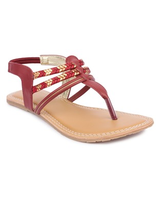 Maroon solid synthetic sandals