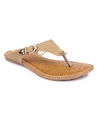 Beige solid synthetic sandals