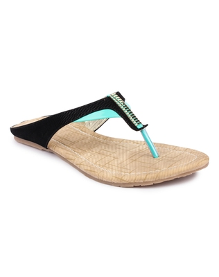 Black solid synthetic sandals