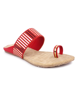 Red solid synthetic sandals
