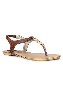 Brown solid synthetic sandals