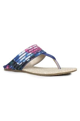 Blue solid synthetic sandals