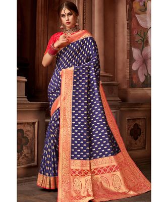 voilet woven blended silk banarasi saree with blouse