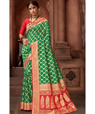 Green woven blended silk banarasi saree with blouse