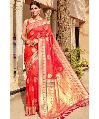 Red woven blended silk paithani saree with blouse