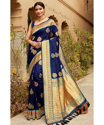 Blue woven blended silk paithani saree with blouse