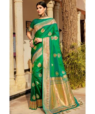Green woven blended silk paithani saree with blouse