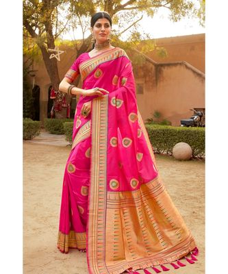 Pink woven blended silk paithani saree with blouse