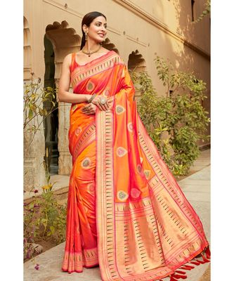 Orange woven blended silk paithani saree with blouse