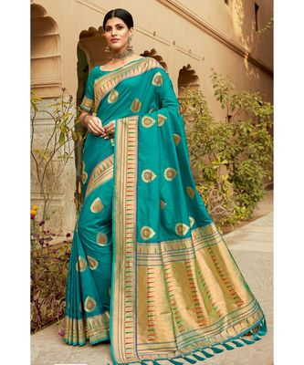 Teal woven blended silk paithani saree with blouse