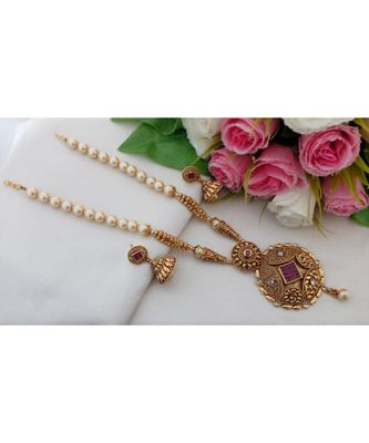 Lovely Long Pearl Neck Wear With Antique Gold Tone Pendant & Matching Jhumkas