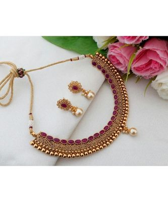 Exquisite Antique Gold Tone Necklace with Ruby Stones & Matching Ear Rings