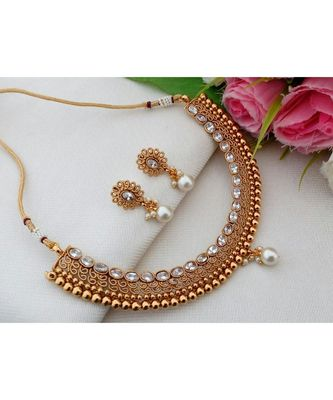 Exquisite Antique Gold Tone Necklace with American Diamond Stones & Matching Ear Rings