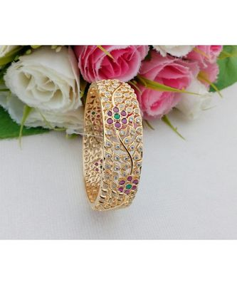 Gorgeous Gold Tone Bangle with CZ, Ruby & Emerald Stones