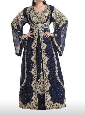 nave blue georgette moroccan islamic dubai kaftan farasha aari and stone work dress