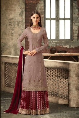Pink Georgette Multi Stone Work Palazzo Semi Suit