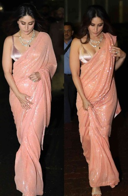 Peach Sequence Work Georgette  Bollywood Saree With Blouse
