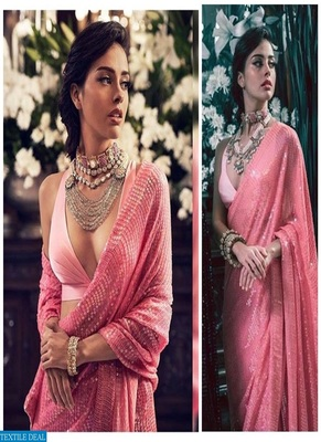 Pink Sequence Work Georgette  Bollywood Saree With Blouse