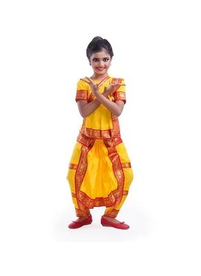 Yellow Bharatnatyam Costume For Girls