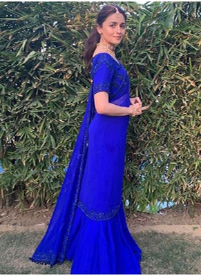 Blue Border Work Georgette  Bollywood Saree With Blouse