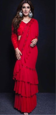 Red Ruffle Embroidery Work Georgette Bollywood Saree With Blouse
