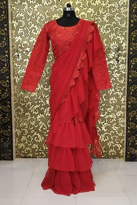 Light Magenta Lace Work Georgette Bollywood Saree With Blouse