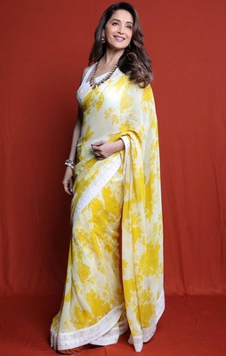 Yellow White Digital Print Georgette Bollywood Saree With Blouse