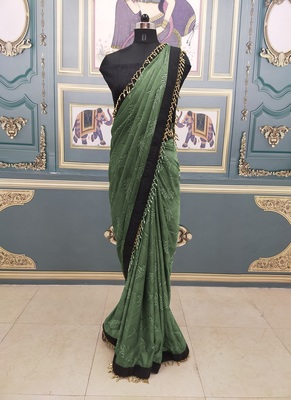 Mehndi Lace Work Jacquard Traditional Saree With Blouse