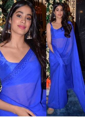 Blue Plain Georgette Bollywood Saree With Blouse