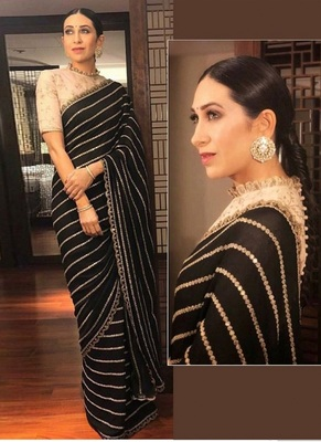Black Embbroidery Work Georgette Bollywood Saree With Blouse