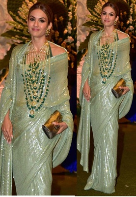 Pesta Green Sequence Work Georgette Bollywood Saree With Blouse