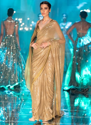 Golden Sequence Work Georgette Bollywood Saree With Blouse