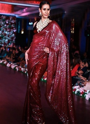 Maroon Sequence Work Georgette Bollywood Saree With Blouse