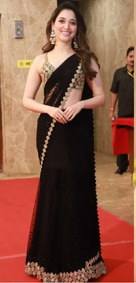 Black Lace Work Gerogette Bollywood Saree With Blouse