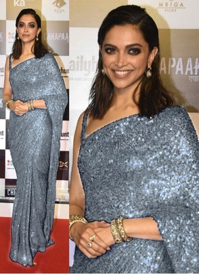 Grey Sequence Work Georgette Bollywood Saree With Blouse