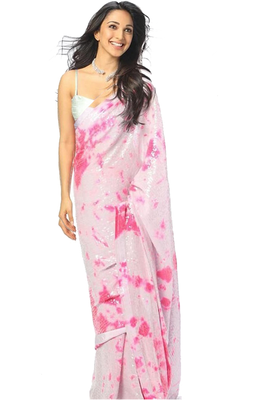 Pink Digital Print Sequence Work Georgette  Bollywood Saree With Blouse