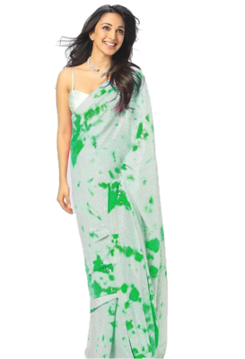 GreenDigital Print Sequence Work Georgette  Bollywood Saree With Blouse