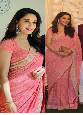 Pink Embroidered Work Georgette Bollywood Saree With Blouse