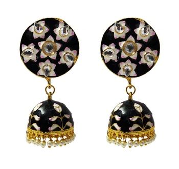 Black Pink Meenakari CZ Kundan Pearl Jhumki Earrings Set