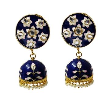 Blue Pink Meenakari CZ Kundan Pearl Jhumki Earrings Set