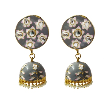 Grey Pink Meenakari CZ Kundan Pearl Jhumki Earrings Set